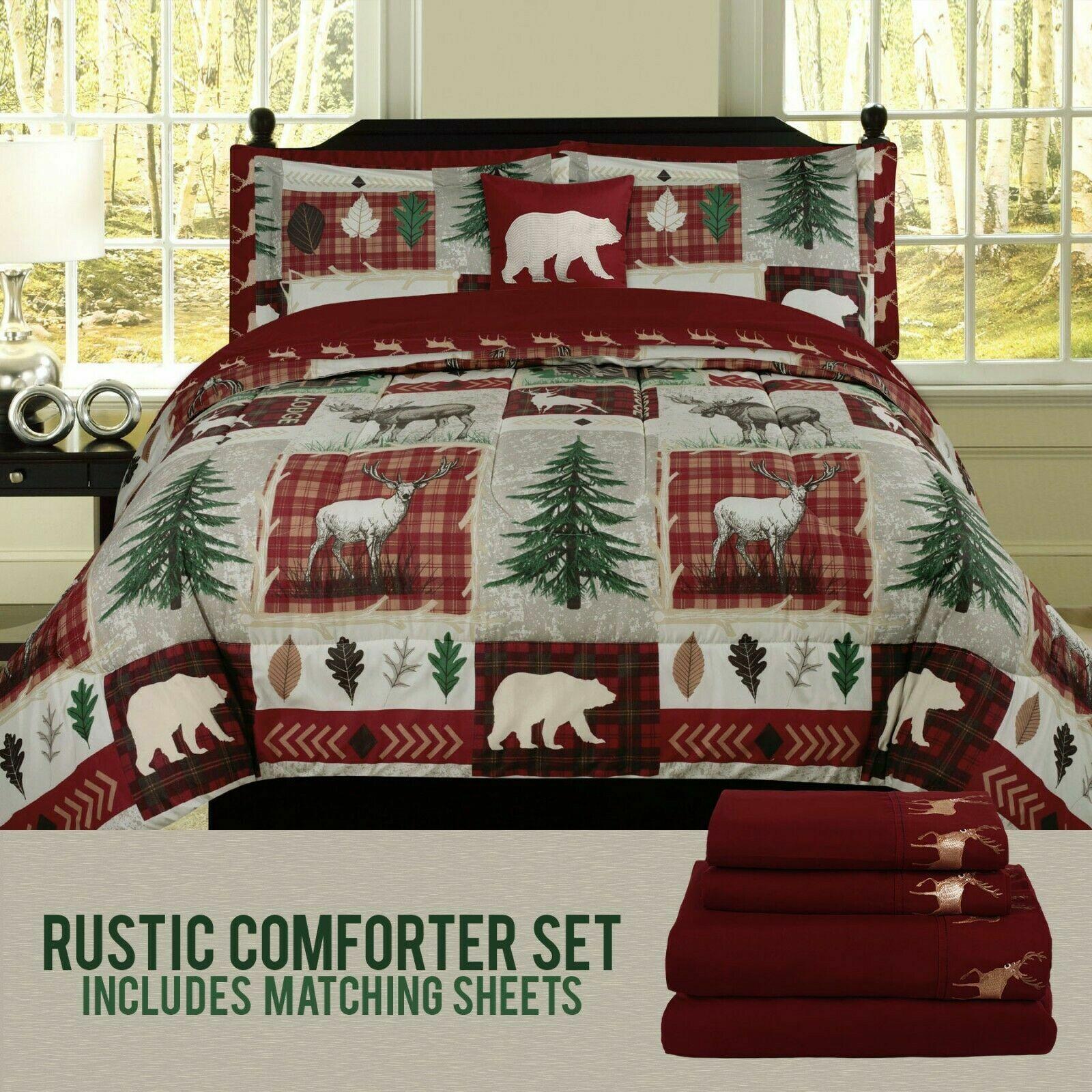 Bear Lodge Comforter Bedding and Deer Sheet Set Cabin Hunting Lodge Bed in Bag Bed-in-a-Bag