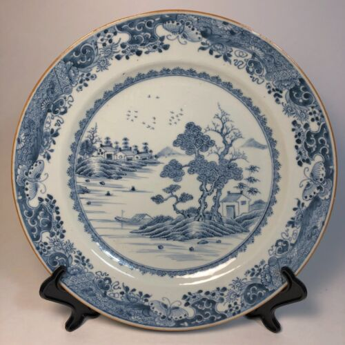 Chinese Antique Porcelain Plate Blue and White Qing Qianlong 18th Century, Nice!