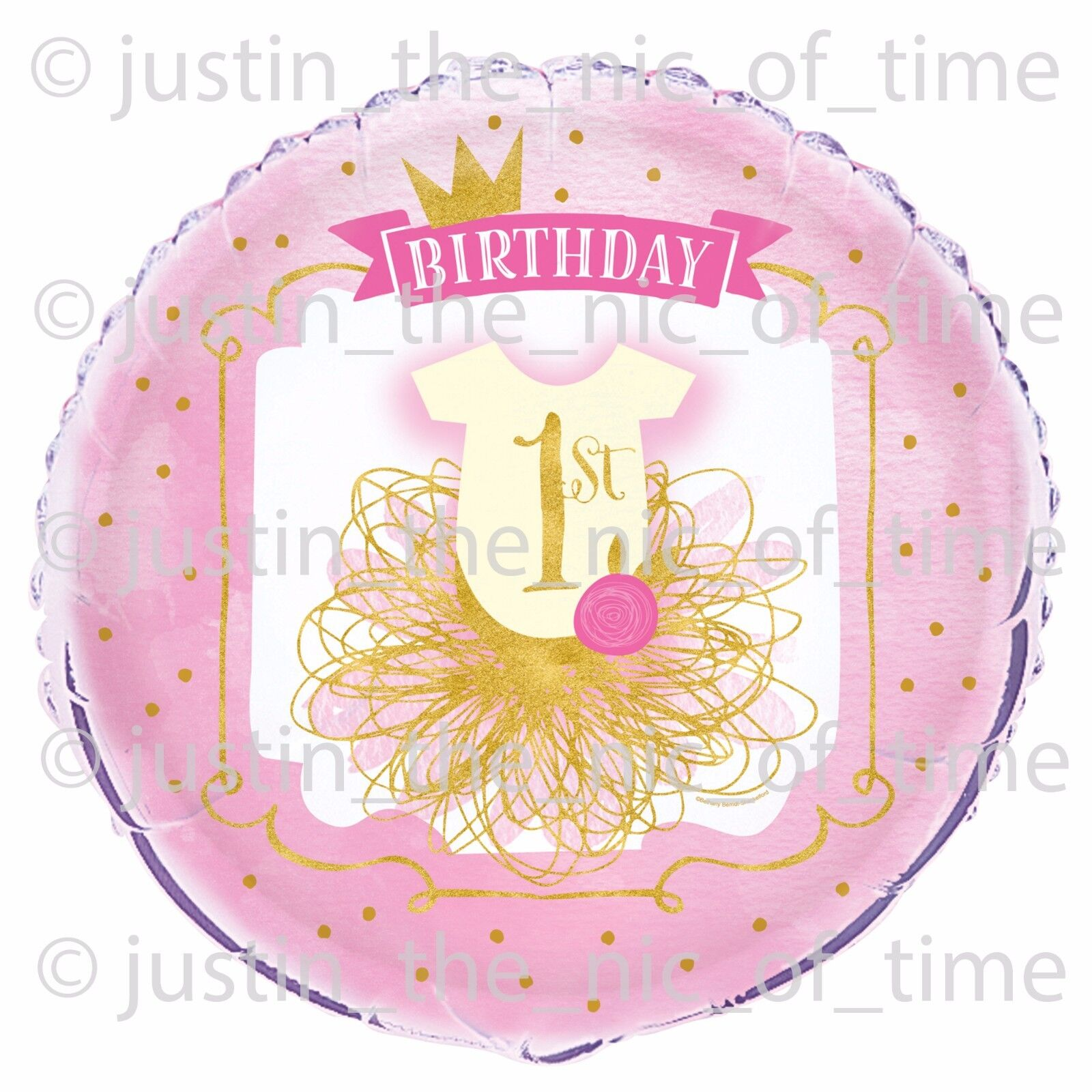 1st First Birthday Girl Pink Gold Party Decorations Large 18 FOIL BALLOON