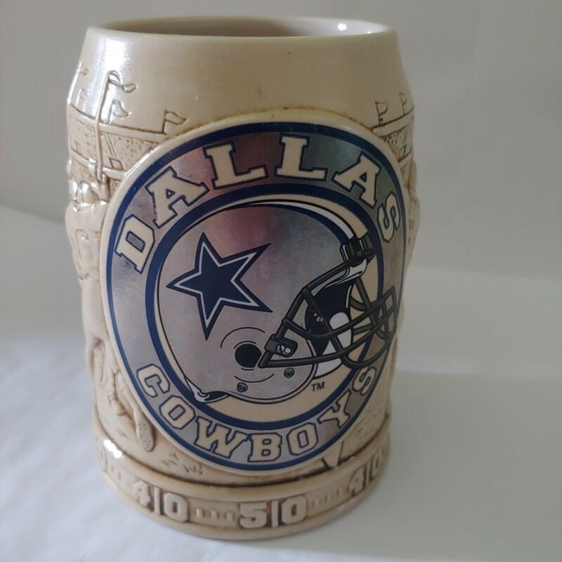 Dallas Cowboys Beer Stein Collectible NFL Football Mug Cup Textured Ceramic EUC