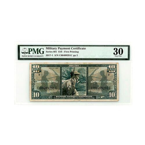 US MPC Series 681 10 Dollars PMG 30 vf