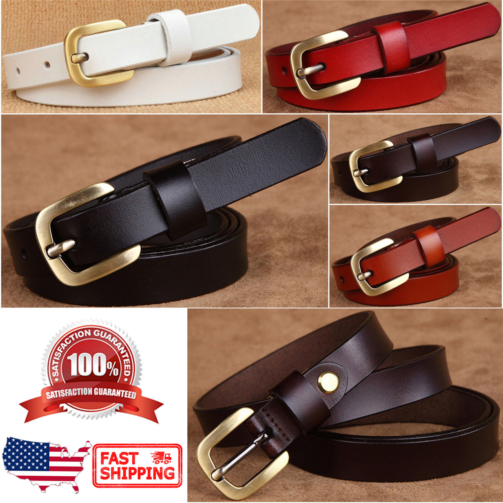 Women's Classic Gold Color Metal Buckle Handcrafted Genuine Leather Skinny Belt Belts