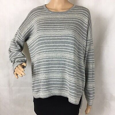 Eileen Fisher Sweater Size S Gray White Stripe Long Sleeve