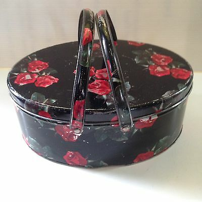 Vintage Oval Biscuit Cookie Tin Handles Sewing Box Black with Red Roses