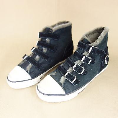 Kids Ash (ASH Kids Kinder Schuhe Stiefel Boots Gr 34 Gefüttert Leder Schwarz NP 120)