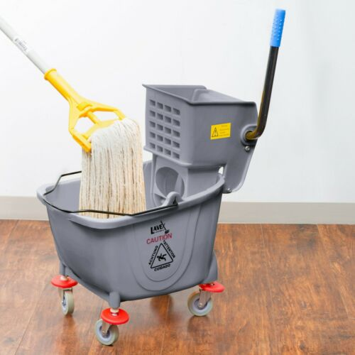 Commercial Wet Mop Bucket & Wringer Combo 35 Quart Gray Janitorial Hotel