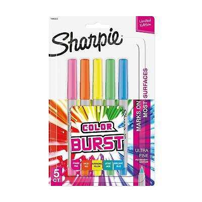 Sharpie Color Burst Permanent Markers Ultra-fine Point Assorted 5pack