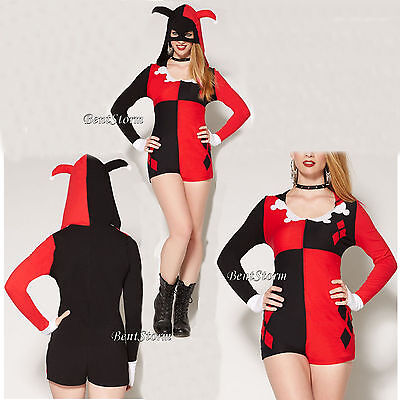 Harley Quinn Outfits (DC Comics Harley Quinn Adult Costume Romper Mask Jester Hat Hood Cosplay Outfit )