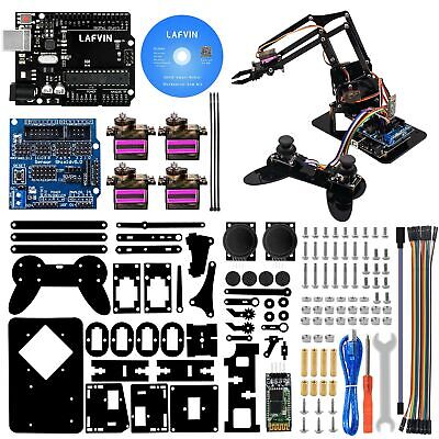 Lafvin 4dof Acrylic Robot Mechanical Arm Claw Kit Compatible With Arduino Ide...