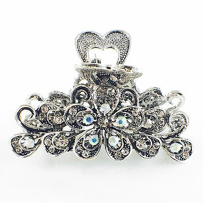 VINTAGE Hair Claw Clip Rhinestone Crystal Hairpin Flower Metal Elegant SILVER 3