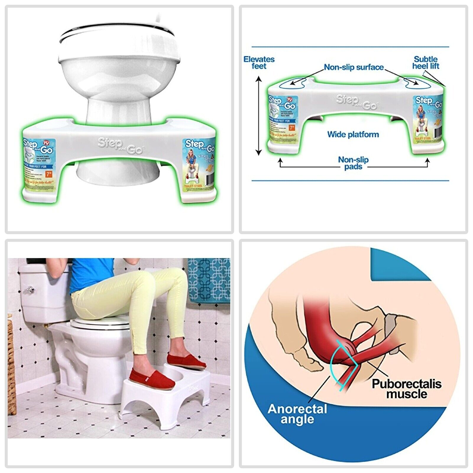 "7"" Toilet Squatty Proper Posture Step Go Stool Potty Squat B"