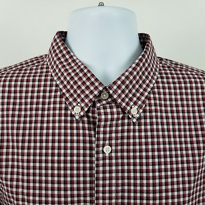Mens L/s Mini (Uniqlo Mens Red Black Mini Check L/S Dress Button Shirt Sz XL)