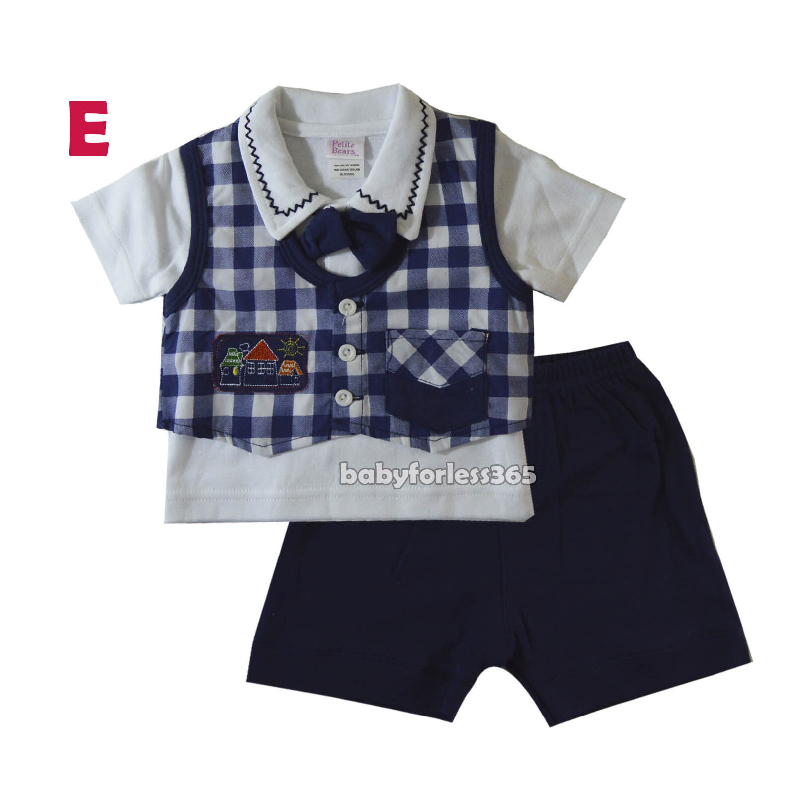 New Baby Boys Tuxedo Vest Polo Shirt Pants outfit Size 0 3 6 9 12