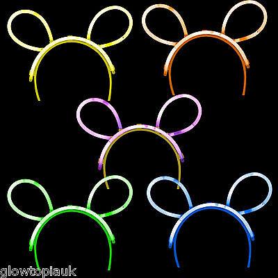5x Glow in the Dark Bunny Ears - Glow Stick Bright Neon - Parties - Glow In The Dark Bunny
