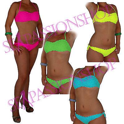 Bikini Costume Bagno Effetto Sangallo Vari Colori a Fascia Due pezzi Mare Donna