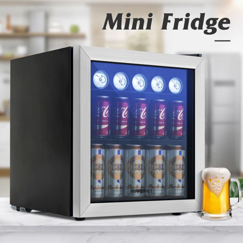 1.6 Cu.Ft Beverage Cooler & Refrigerator Mini Fridge Beer Soda 62 Can Glass Door
