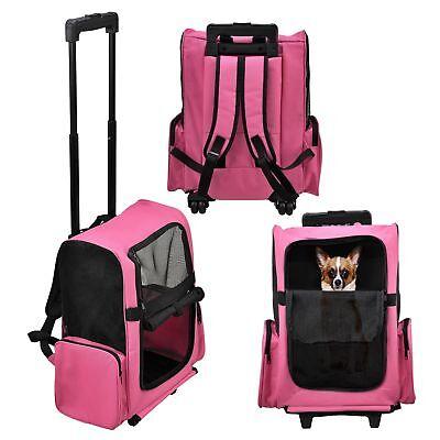 [pro.tec] Mochila carrito para mascotas rosa trasportín perros gatos 4 ruedas