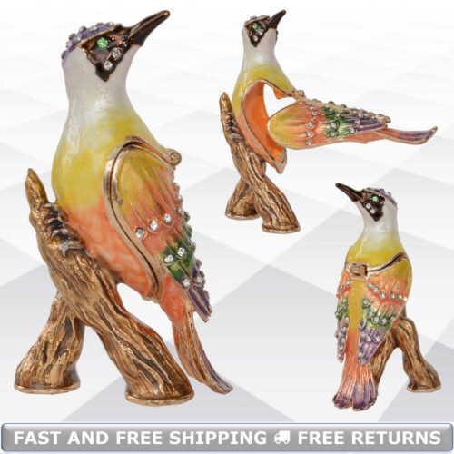 Woodpecker Bird Trinket Pill Jewelry Box With Hinged Lid Enamel Jeweled Crystals