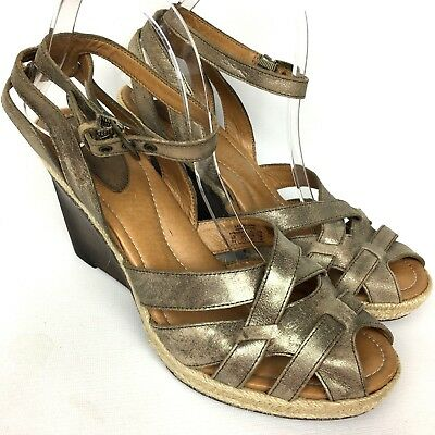 FOSSIL Metallic Leather Ankle Strap Wedges Sandals Shoes Sz 9.5 Ankle Strap Leather Wedges