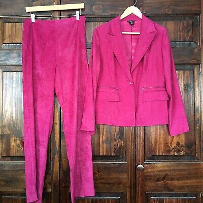 Courtenay Magenta Pink Stretch Suede Blazer Pants Polyester Suit Size 10 Women's