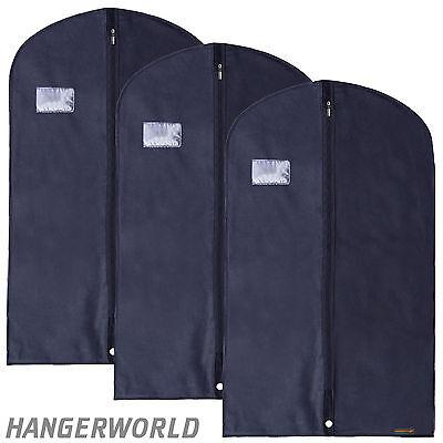 "3 Blue Breathable Suit Covers Garment Clothes Protector Bags 40"" Hangerworld"