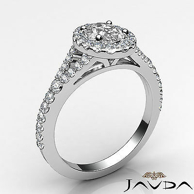 Halo Split Shank Oval Diamond Engagement French Pave Set Ring GIA I VS2 1.21Ct 1