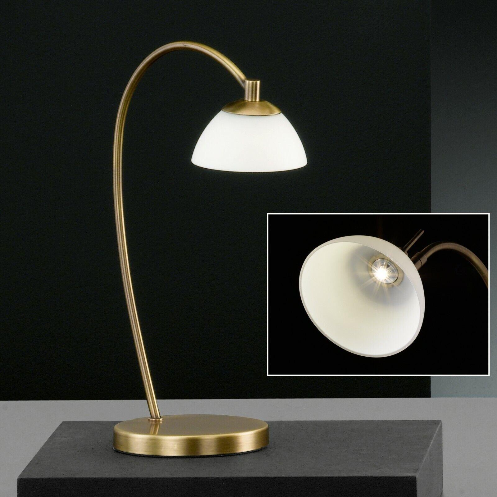 Mini Tischlampe LED Nacht Tischlampe Alt Messing Lampe mit Glasschirm H 37 cm   eBay