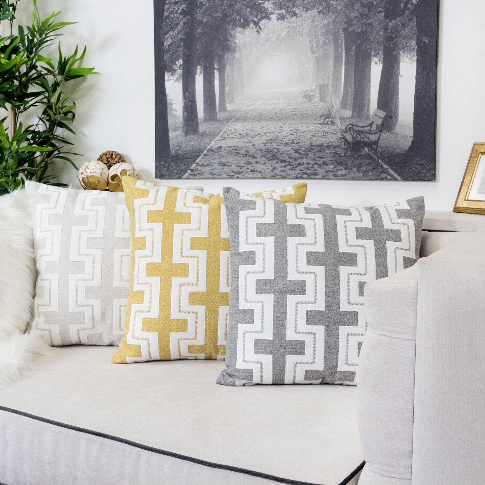 applique zigzag linen pillow cover large cushion