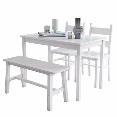 4 PCS Dining Table Set Solid Wood Table w/ 2 Chairs & Bench for Kitchen White