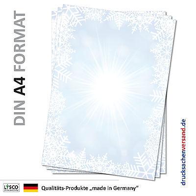 Motivpapier Briefpapier (Winter-5079 DIN A4 25 Blatt) Eiskristalle Schnee Sterne