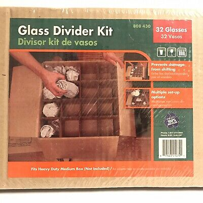 Cardboard Glass Divider Kit Fits 32 Glasses Storage Moving Safety 808 430 New