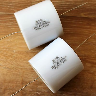 Kzk White Line 2pcs 68uf 400v 5 Brand New Russian Audiophile Grade Capacitors