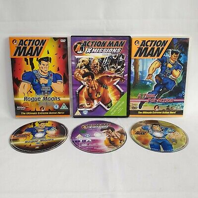 3 x Action Man DVDs Bundle - Rogue Moons, X Missions the Movie & Time For