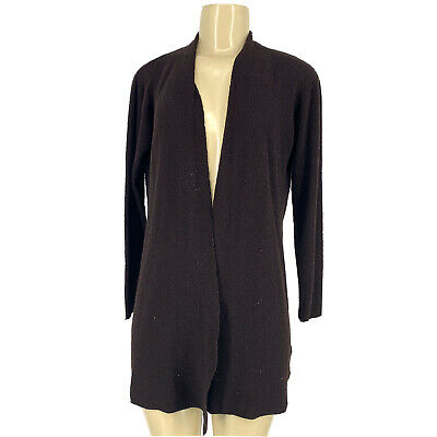 Eileen Fisher Sis S Petite Open Front Cardigan Sweater Wool Brown VK4