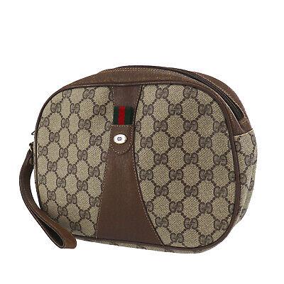GUCCI GG Plus Web Stripe Clutch Pouch Bag Brown PVC Italy Vintage Auth #II658 O