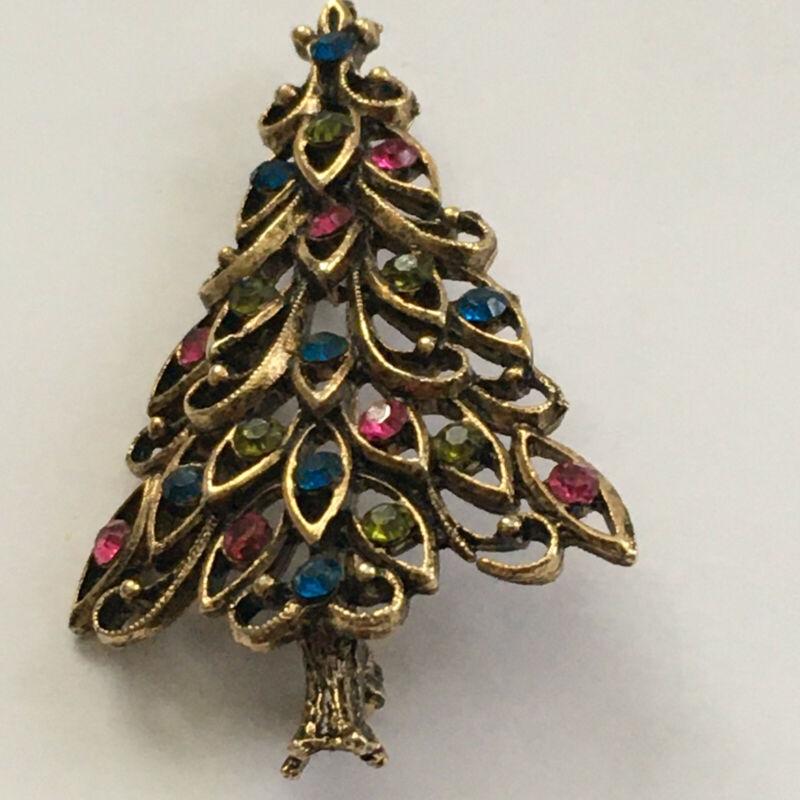 VINTAGE GOLD TONE RHINESTONES CHRISTMAAS TREE PIN BROOCH ESTATE FIND