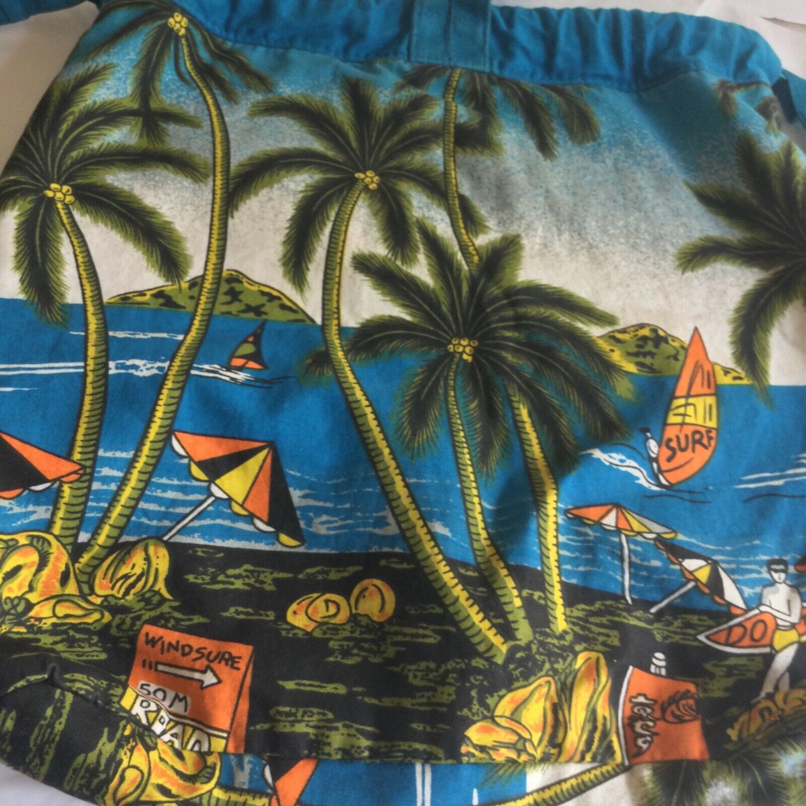 Bagpacks Beach Bag Palm trees and Ocean 14 in by 14 blue and