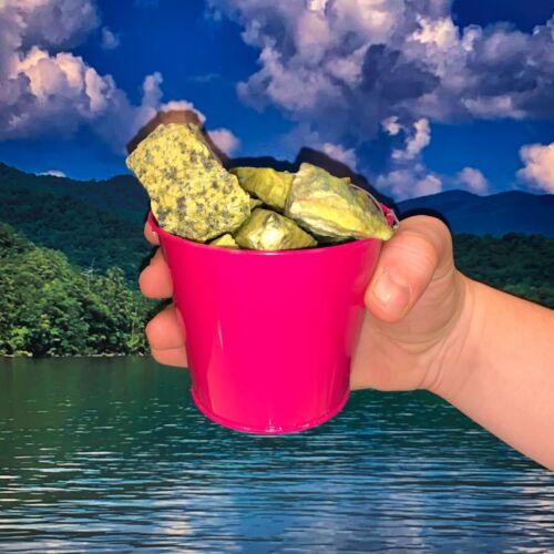 Bucket Full of Natural Serpentine Rough + FREE gemstone - Pick Bucket Color