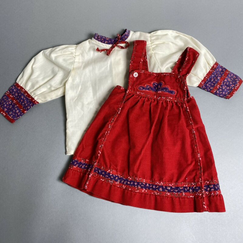 Vintage 80s Carters Toddler Girl 2T Peasant Blouse & Corduroy Dress Outfit Set
