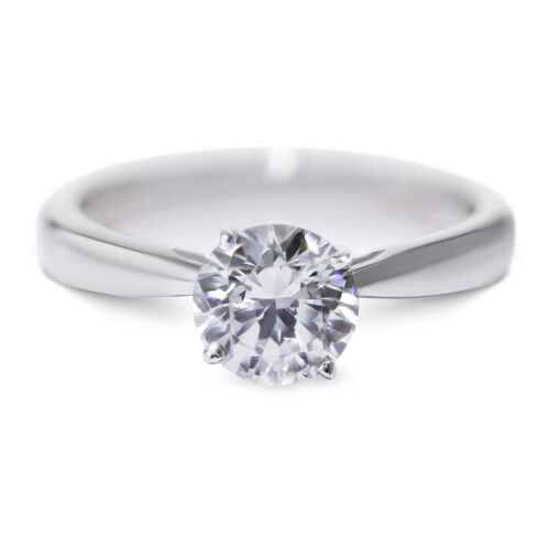 0.9 Carat Round shape E - SI1 Solitaire Diamond GIA Engagement Ring sizeable