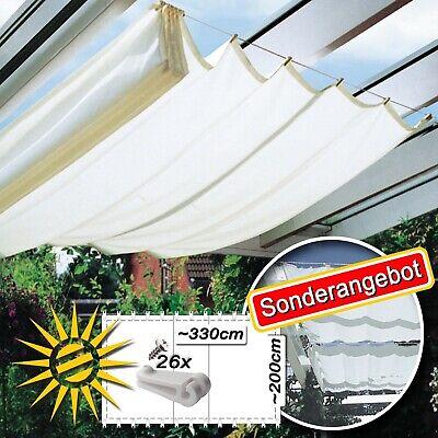 Sonnensegel weiss ca. 330x200cm für Seilspannmarkise, 26 Laufhaken Sonderangebot