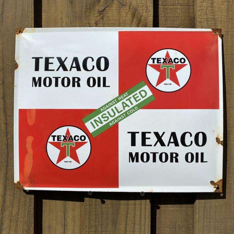 VINTAGE TEXACO MOTOR OIL PORCELAIN SIGN USA INSULATED GAS SERVICE STATION GARAGE