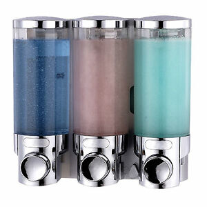 Triple soap dispenser trio chrome wall mounted shampoo - Wall mounted shampoo conditioner dispenser ...