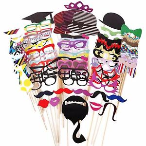 76Pcs Photo Booth Photobooth Wedding Props Moustache On A Stick Party Prop DIY