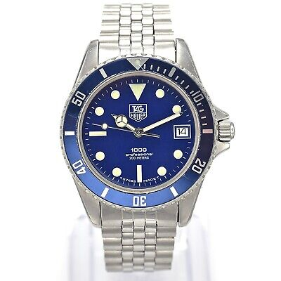 Vintage Tag Heuer 980.613N/1 Professional Diver 1000 Quartz Mens Date Watch 37mm