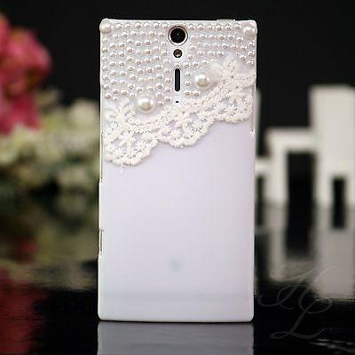 Sony Ericsson LT26i Xperia S Handy Case Hülle Bumper Etui Perlen Cover Weiß 3D Handy Cover Sony Ericsson