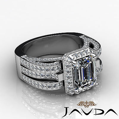 3 Row Shank Radiant Diamond Engagement Pave Ring GIA G Color SI1 Clarity 2.7 Ct 2