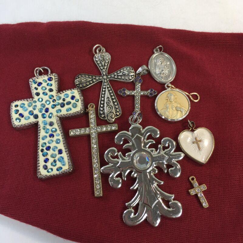 Lot of 9 Religious Pendants and Charms Cross Jesus Saint Christian