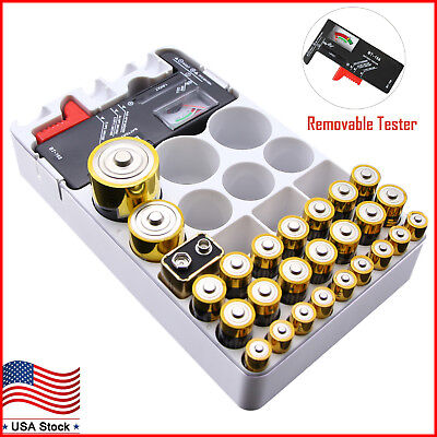 Battery Organizer Storage Case with Removable Battery Tester for AAA AA 9V C D Removable Battery Case