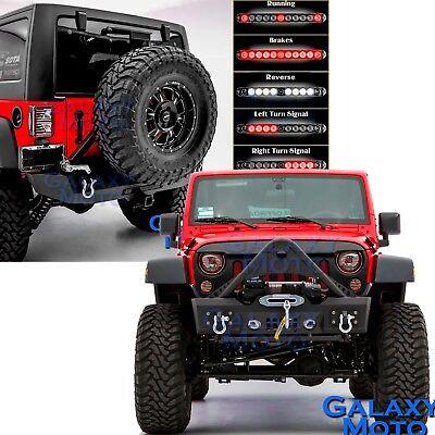 Stinger Front+Rear Bumper+LED Tail Light+Tire Carrier For 07-18 Jeep JK Wrangler